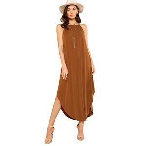 Jacinta Pretty In Rust Midi Asymmetrical Hem Dress